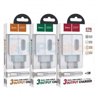 СЗУ USB Hoco С75 ( 2,4A, 2 USB порта) +кабель Type-C  Белый