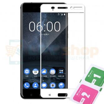 Защитное стекло (Полное покрытие) для Nokia 6 Белое
