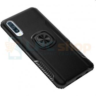Защитный чехол - силиконовый для Samsung Galaxy A50 A505F Черный (с магнитом для держателя и кольцом)