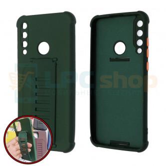 Чехол силиконовый с ремешком Huawei Honor Y6P темно-зелёный