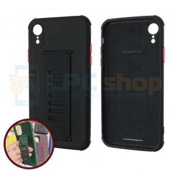 Чехол силиконовый с ремешком iPhone XR чёрный