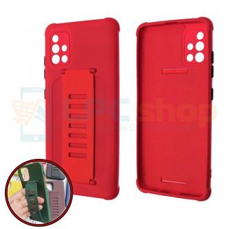 Чехол силиконовый с ремешком Samsung A51 A515F красный