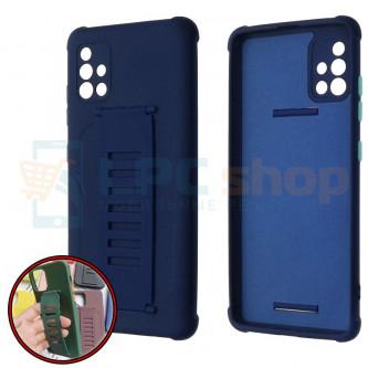 Чехол силиконовый с ремешком Samsung A51 A515F темно-синий