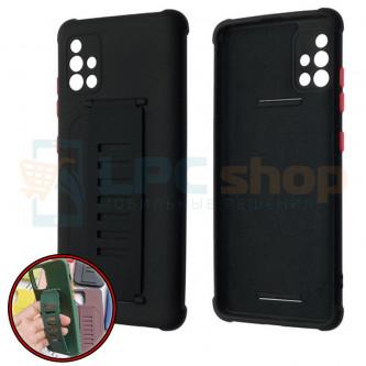 Чехол силиконовый с ремешком Samsung A51 A515F чёрный