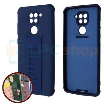 Чехол силиконовый с ремешком Xiaomi Redmi Note 9 темно-синий