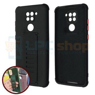 Чехол силиконовый с ремешком Xiaomi Redmi Note 9 чёрный