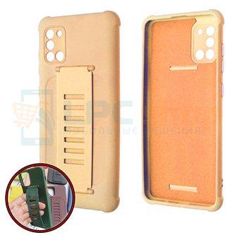 Чехол силиконовый с ремешком Samsung A51 A515F светло-коралловый