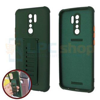 Чехол силиконовый с ремешком Xiaomi Redmi 9 темно-зелёный