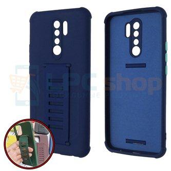 Чехол силиконовый с ремешком Xiaomi Redmi 9 темно-синий