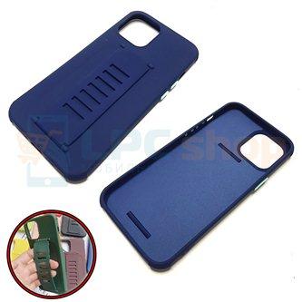 """Чехол силиконовый с ремешком iPhone 12 PRO MAX (6.7"""") темно-синий"""