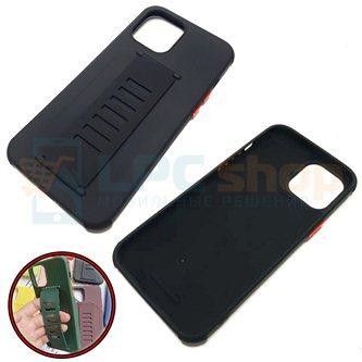 """Чехол силиконовый с ремешком iPhone 12 PRO MAX (6.7"""") чёрный"""