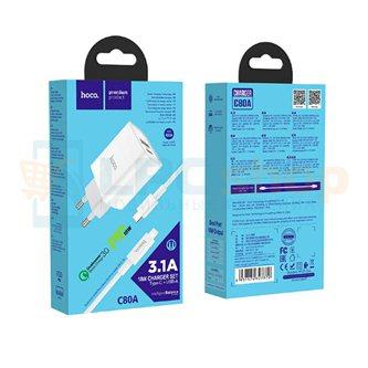 СЗУ USB/Type-C Hoco C80A (3А, QC3.0, PD, кабель Type-C-Lightning) Белый