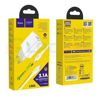 СЗУ USB/Type-C Hoco C80A (3А, QC3.0, PD, кабель Type-C-Type-C) Белый