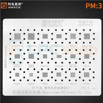 AMAOE BGA трафарет для IC Qualcomm (PM:3) PM7150 / PM439 / PM845 / PM562 / PM660 / PM670 / PM8150 / PM6150 / PM8150 / PMI632 / P