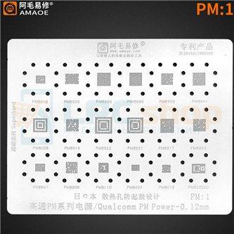 AMAOE BGA трафарет для IC Qualcomm (PM:1) PM8018 / PM8926 / PM8996 / PMI8996 / PM8941 / PM8058 / PM8953 / PM8841 / PM8909 / PM81