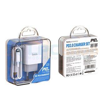 Сетевое зарядное устройство Type-C Hoco C76A (3А, PD, FCP, AFC, кабель Type-C-Lightning) Белый