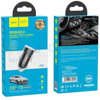 Автомобильное зарядное устройство USB / Type-C Hoco Z32B (2.4A, QC3.0, PD, FCP, AFC) Черный