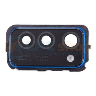 Стекло задней камеры Huawei Honor View 30 синее в рамке