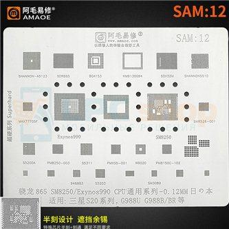 AMAOE BGA трафарет Samsung (SAM:12) S20 / SM8250 / Exynos990 / SDR865 / MAX77705F / SMR526 / PM8150C / PM8250 / S5200A / SDX55M