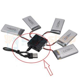 Зарядное устройство JST для АКБ 903052 / для KY601S SYMA X5 X5S X5C X5SC X5SH X5SW M18 H5P H11D H11C / 5портов (совместим с АКБ