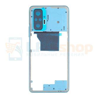 Средняя часть Xiaomi Redmi Note 10 Pro M2101K6G Голубой (без линзы камеры) + кнопки громкости